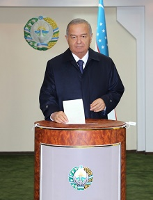 Candidate for President of the Republic of Uzbekistan Islam Karimov voted on elections